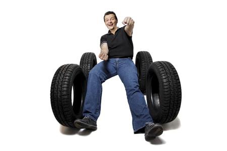 Got new tires? on white background photo