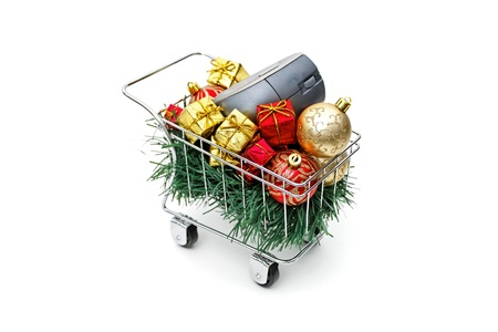 E-commerce Christmas shopping time on white background Stock Photo - 18582283