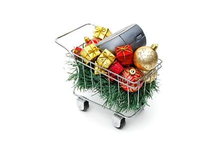E-commerce Christmas shopping time on white background Stock Photo - 18582283