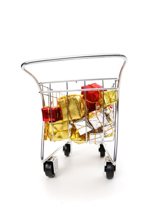 E-commerce Christmas shopping time - rear  view on white background Stock Photo - 18581993