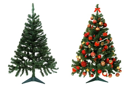 Before and after - Christmas tree isolated on white background photo
