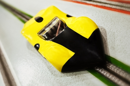 slot car track: Electric slot car close-up on track
