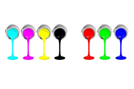 Isolated CMYK and RGB paint cans on white backgound Stock Photo - 18581292