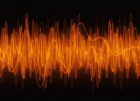 and sound: Techno ambar ondas de sonido pantalla. Foto de archivo