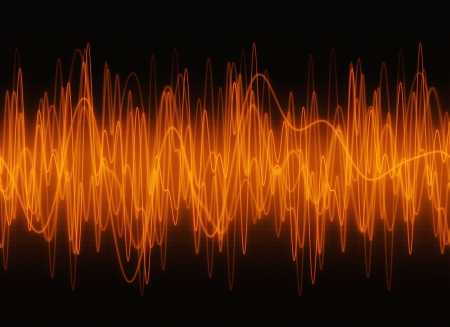 Techno ambar waves sound display. Stock Photo - 18581503
