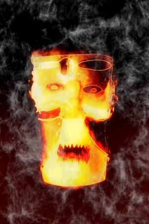 sorcery: Scary mask illustration - Fear sorcery - Halloween theme