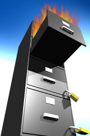 Photo of File Cabinet Burning Stock Photo - 18599799