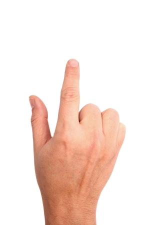 mano derecha: Foto del dedo presionando la mano derecha