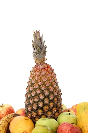 Group of tropical fruits on white background. Stock Photo - 18601097