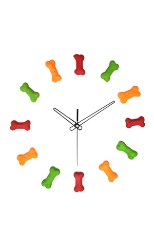 A clock with dog biscuits isolated on a white background. Stock Photo - 18597861