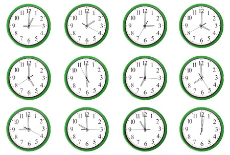 seven o'clock: 12 clocks. Each one showing one hour of the day. Isolated on a white background.