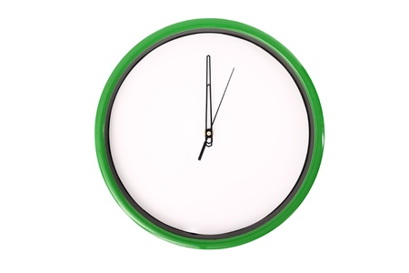 12 oclock: A clock showing 12 oclock. Isolated on a white background.