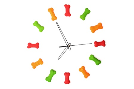 A clock with dog biscuits isolated on a white background showing 7 o'clock. Stock Photo - 18597858