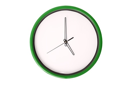 oclock: A clock showing 5 oclock. Isolated on a white background.