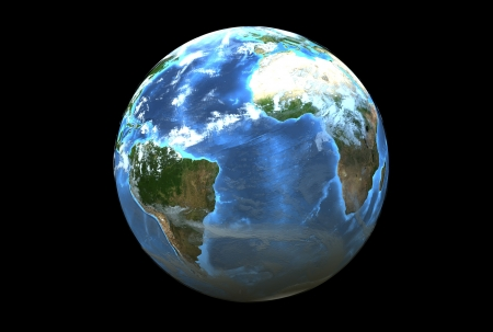 Three dimensional image of planet earth. South America side Stock Photo - 18601461