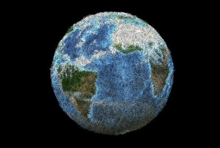 3D earth planet made with shredded paper. Stock Photo - 18602188