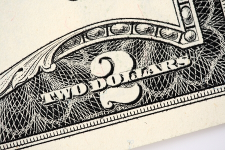 two dollar bill: A close of a two dollars bill.