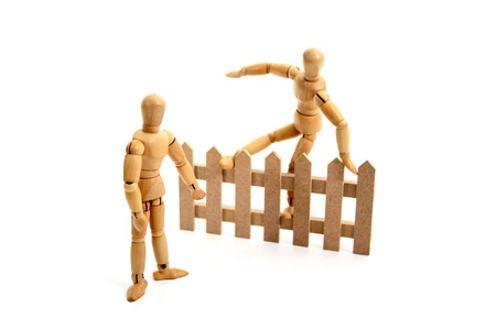 betray: A dummy jumping the fence.