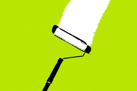 A paint roll illustration on a green background.