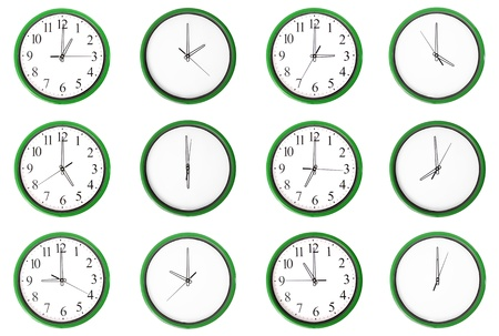 12 clocks isolated on a white background  Each one showing one hour of the day  The odd numbers are outstanding  photo