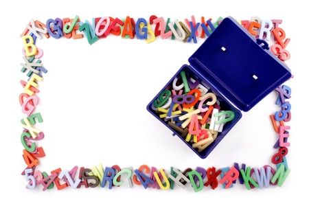 Alphabet border and trunk top view  Stock Photo