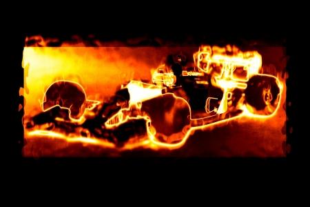 Formula one racing - car burning illustration on black background illustration