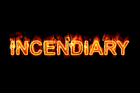 inflammable: A fired wordphrase from a serie isolated on a black background.
