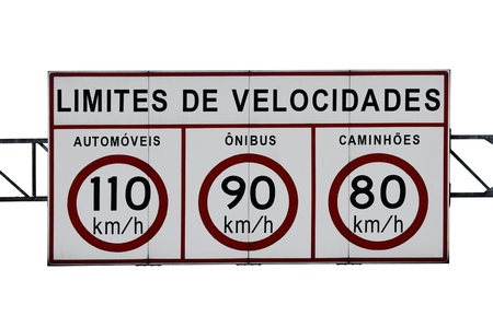law of brazil: An isolated speed limit highway sign in KMH (Text in Portuguese-Br)