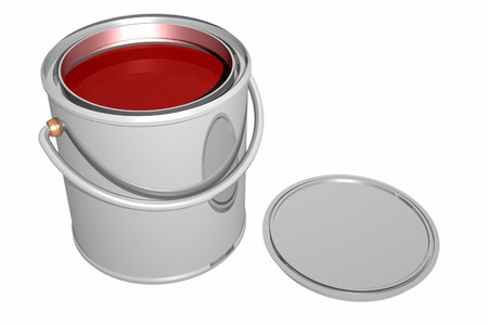 Paint can and cover isolated on white. 3D image. photo