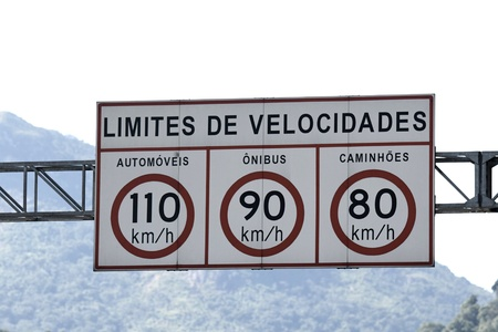 law of brazil: Speed limit highway sign in KM H  Text in Portuguese-Br