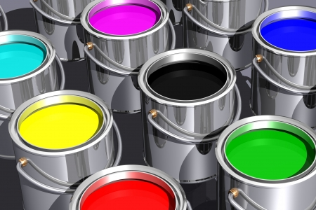 Colored inks in paint cans isolated on white. 3D image. photo