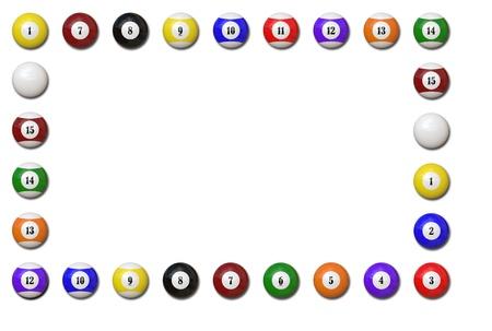 lows: Pool balls frame on white background - Illustration Stock Photo