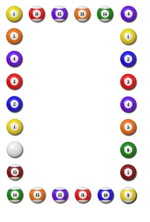 lows: Pool Balls vertical frame on white background - Illustration