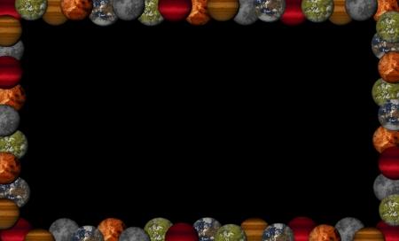 Planets frame on back background - illustration Stock Photo