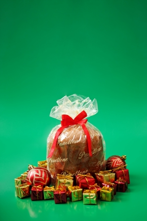 Panettone on green background photo