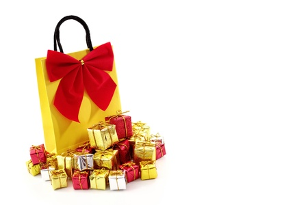Bag with xmas ornaments isolated on a white background. photo