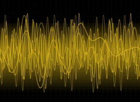 Amber sound waves on dark background photo