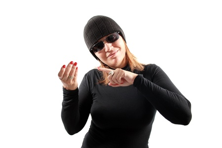 petty theft: Thief holding isolated on white background