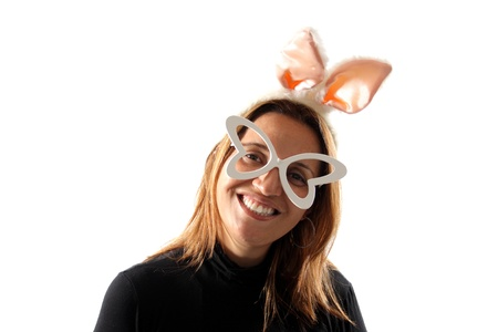 Bunny girl isolated on white background photo