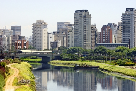 Sao paulo city and river - Brazil Stock Photo