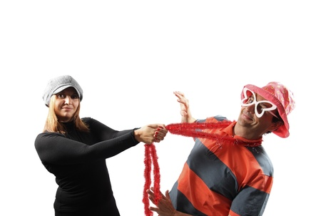 hanged woman: Funny couple - Pulling a guy isolated on white background
