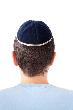 kippah: Rear view of a man wearing a Kippah on white background