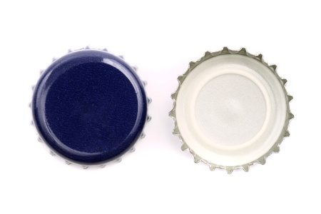 non alcoholic beer: Photo of Blue bottle caps