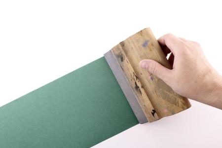 printmaking: Photo of silkscreening Stock Photo