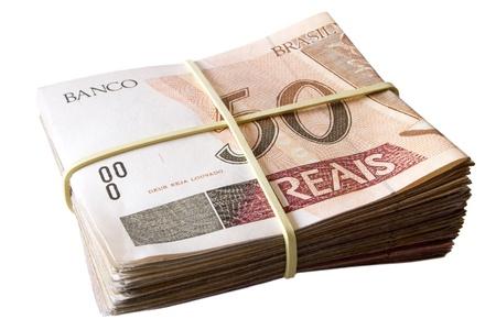 rubberband: Photo of Fifty reais - Brazilian money Stock Photo