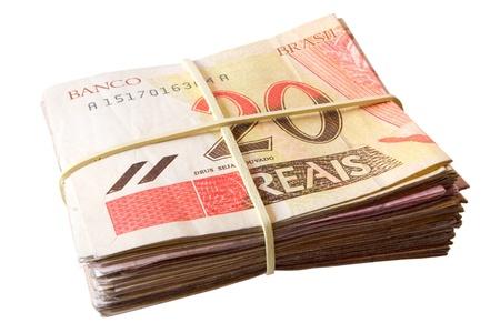 rubberband: Foto de veinte reales - dinero brasile�o Foto de archivo