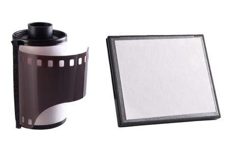 fash: Photo of Camera film and memory card Stock Photo