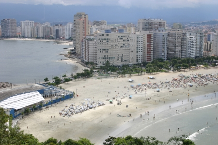 Photo of Ocean on the both sides in Santos - Sao Vicente - Sao Paulo - Brazil Stock Photo