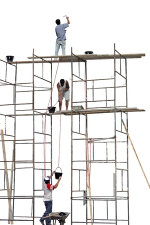 Photo of Workers on a scaffold Stock Photo