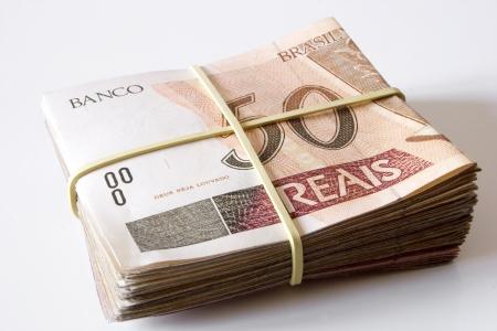 rubberband: Photo of Brazilian money - 50 Reais. Stock Photo